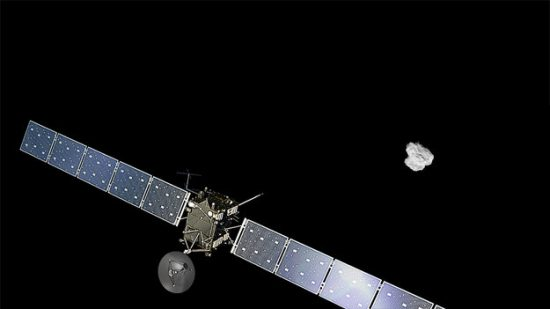 Copyright Spacecraft: ESA/ATG medialab; Comet image: ESA/Rosetta/NAVCAM